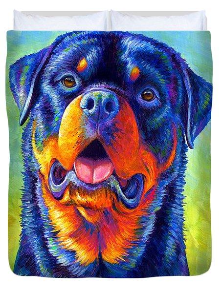 Gentle Guardian Colorful Rottweiler Dog Duvet Cover
