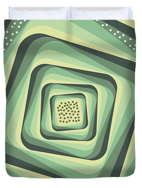 Geometric Abstract Pattern - Retro Pattern - Spiral 3 - Grey, Cream, Teal, Slate Duvet Cover
