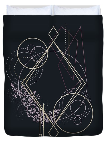 Duvet Cover featuring the digital art Geometric Abstraction Decorated With Flowers by Bee-Bee Deigner