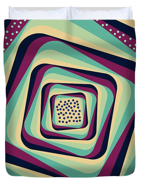 Geometric Abstract Pattern - Retro Pattern - Spiral 1 - Blue, Violet, Wheat, Beige Duvet Cover