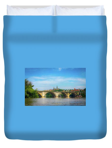 Duvet Cover featuring the photograph Georgetown From The Potomac by Lora J Wilson