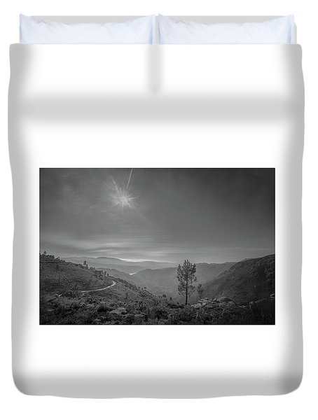Duvet Cover featuring the photograph Geres - One Tree by Bruno Rosa