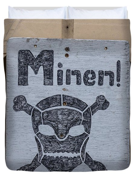 German Mine Warning Sign From World War II Duvet Cover