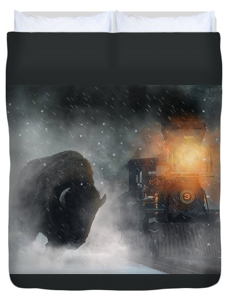 Duvet Cover featuring the digital art Giant Buffalo Attacking Train by Daniel Eskridge