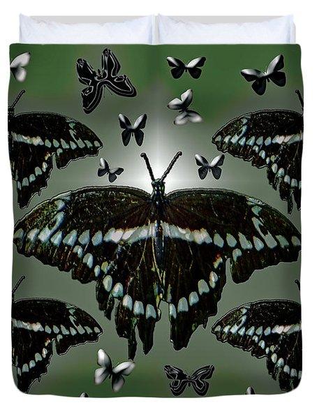Giant Swallowtail Butterflies Duvet Cover