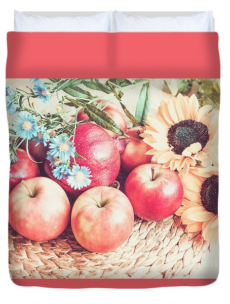 Gifts Of Autumn Retro Style Duvet Cover