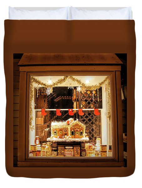 Duvet Cover featuring the photograph Gingerbread Holiday Window by Kristia Adams