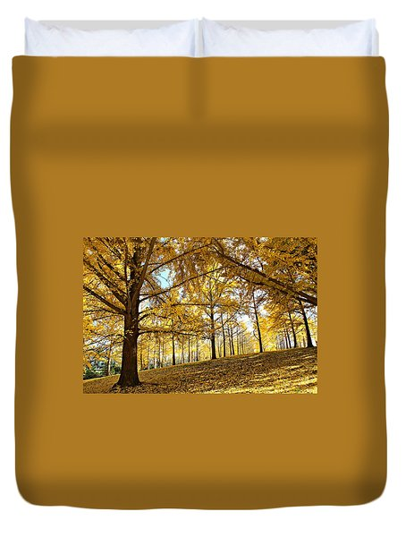 Duvet Cover featuring the photograph Ginkgo Grove by Candice Trimble