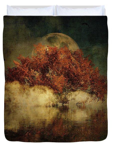 Duvet Cover featuring the digital art Giant Oak And Full Moon by Jan Keteleer