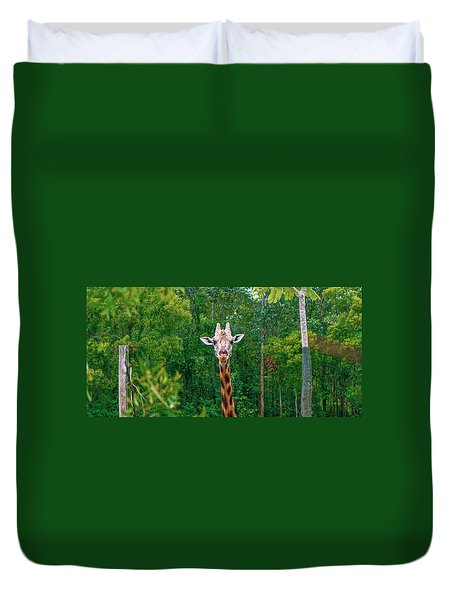 Giraffe Looking For Food During The Daytime. Duvet Cover