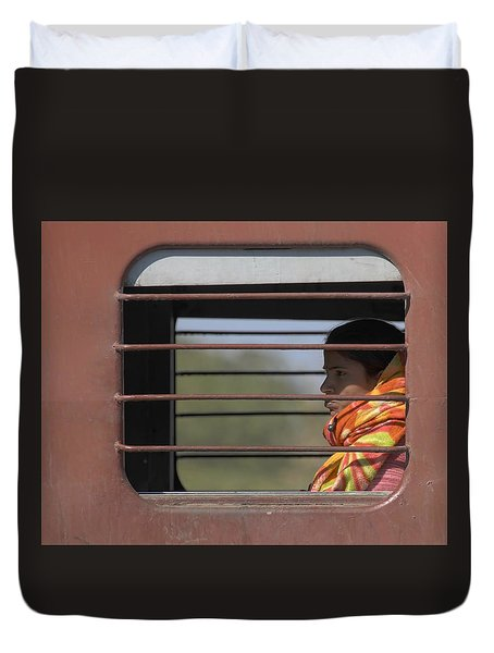 Girl On Train Duvet Cover