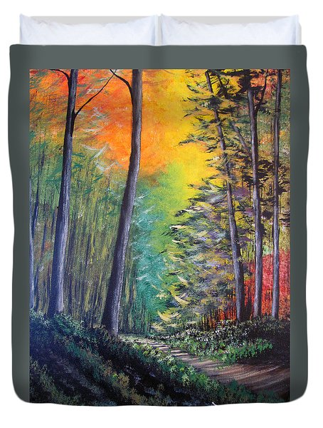 Glowing Forrest Duvet Cover