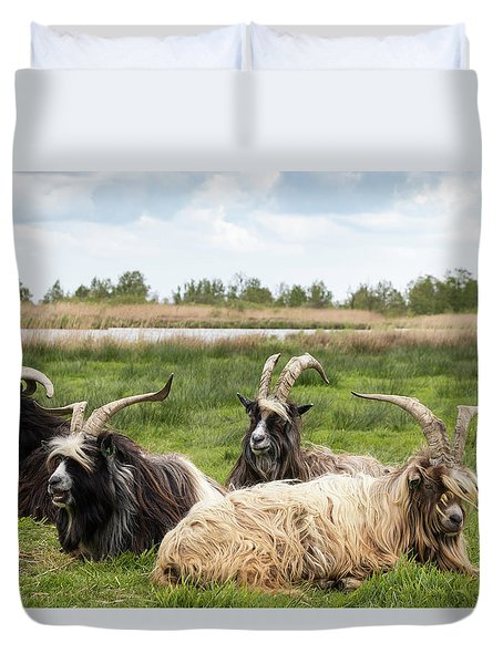 Duvet Cover featuring the photograph Goats  by Anjo Ten Kate