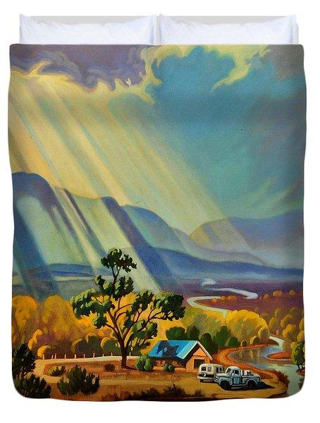 God Rays On A Blue Roof Duvet Cover