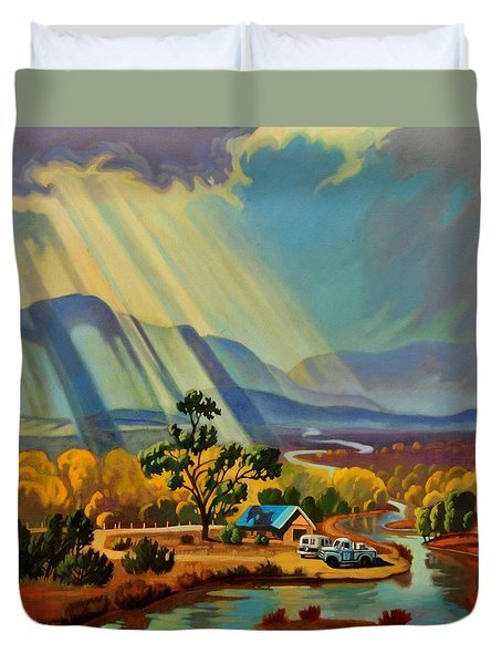 God Rays On A Blue Roof Duvet Cover