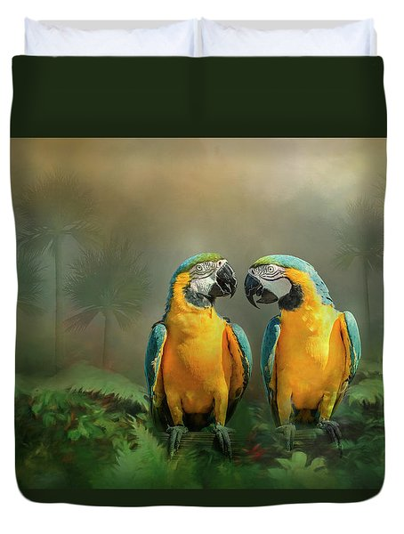 Gold And Blue Macaw Pair Duvet Cover