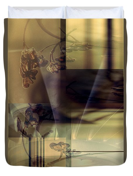 Gold Brown Tan Abstract Duvet Cover