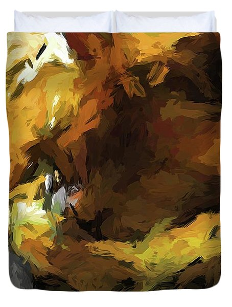 Gold Cat And The Shadow Duvet Cover
