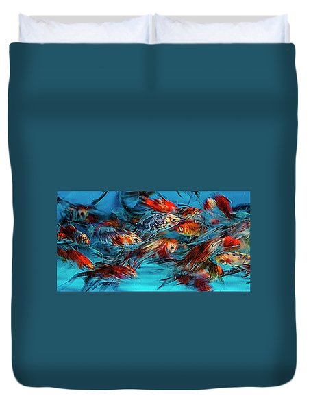 Gold Fish Abstract Duvet Cover