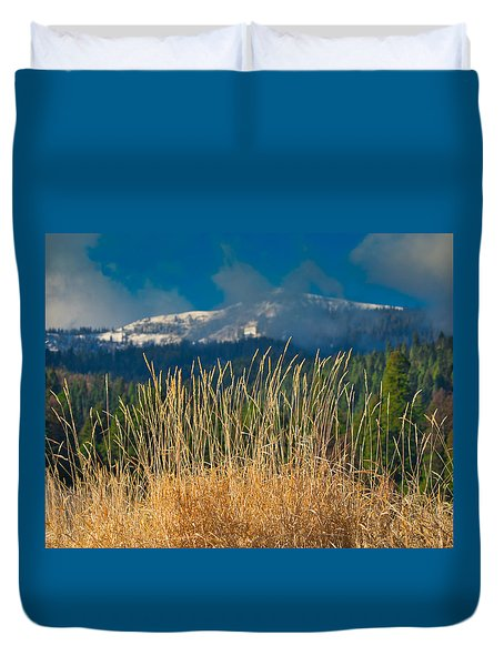 Gold Grass Snowy Peak Duvet Cover