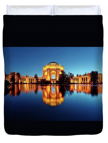 Duvet Cover featuring the photograph Gold Surrounded By Deep Blue by Quality HDR Photography