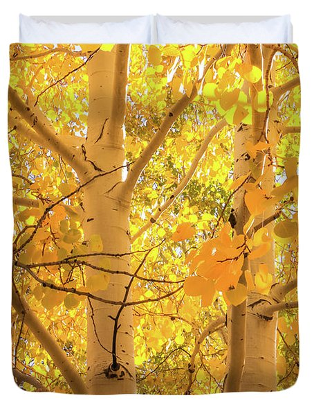 Golden Aspens In Grand Canyon, Vertical Duvet Cover