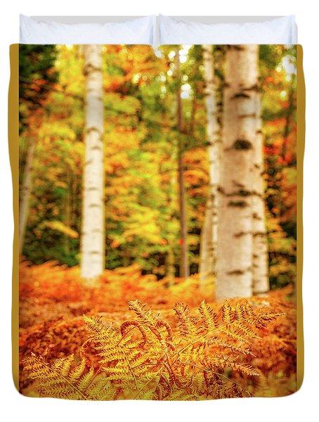 Golden Ferns In The Birch Glade Duvet Cover