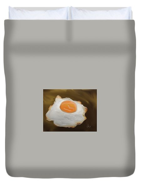 Duvet Cover featuring the pastel Golden Fried Egg by Fe Jones