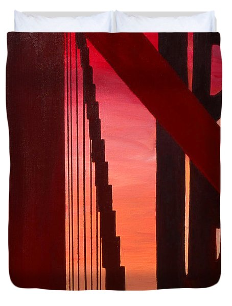 Golden Gate Art Deco Masterpiece Duvet Cover