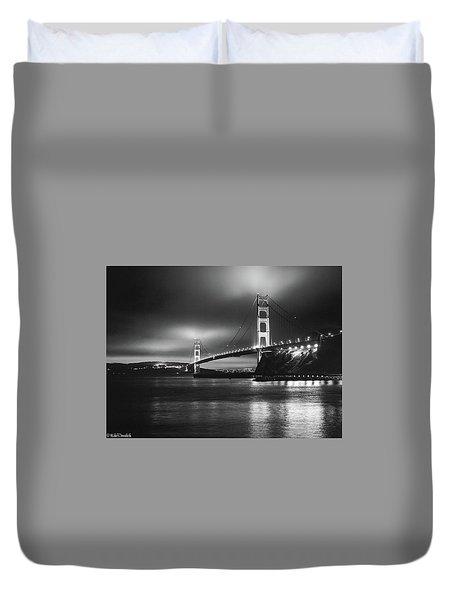 Golden Gate Bridge B/w Duvet Cover