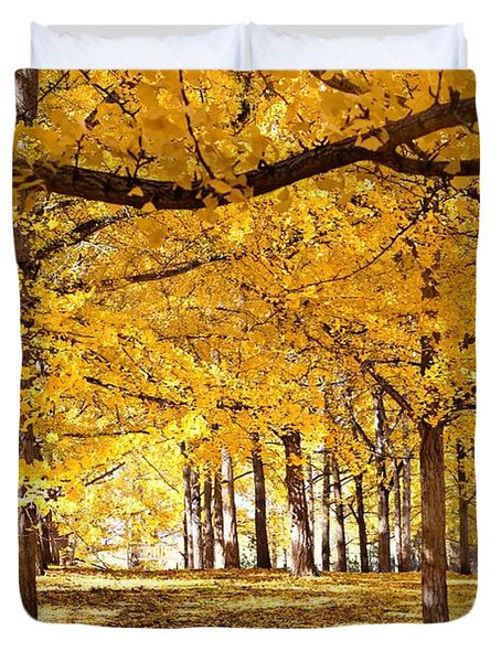 Golden Ginkgo Duvet Cover