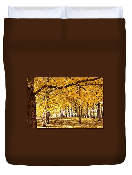 Duvet Cover featuring the photograph Golden Ginkgo by Candice Trimble