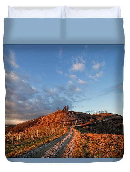 Duvet Cover featuring the photograph Golden Hill by Davor Zerjav
