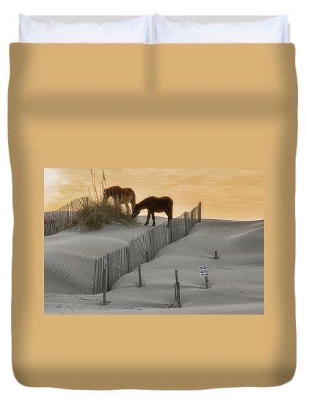 Golden Horses Duvet Cover