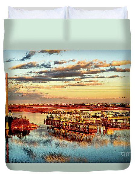 Golden Hour Bridge Duvet Cover