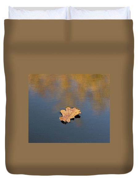 Golden Leaf On Water Duvet Cover