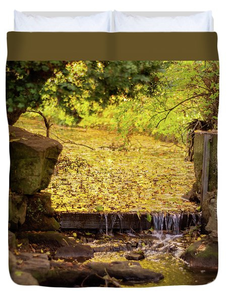 Duvet Cover featuring the photograph Golden Leaf River by Scott Lyons