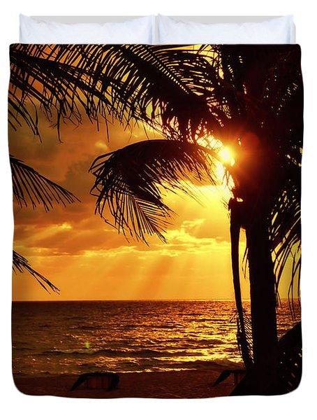 Golden Palm Sunrise Duvet Cover