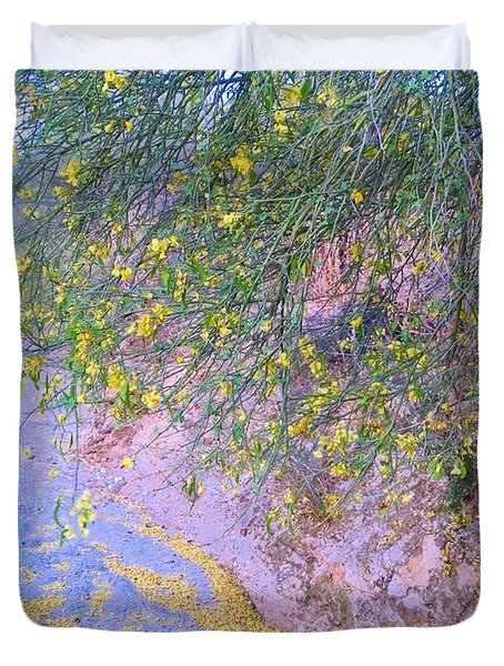 Golden Petals In A Desert Wash Duvet Cover