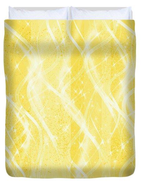 Duvet Cover featuring the digital art Golden Pineapple Twist by Rachel Hannah