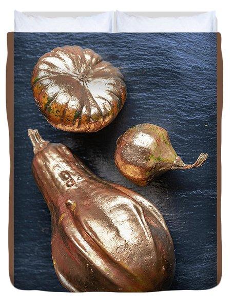 Golden Pumpkins On The Slate Platter Duvet Cover