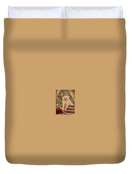 Golden Retriever On Christmas  Duvet Cover