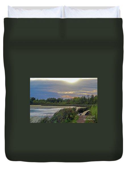 Golden Sunset Over Wetland Duvet Cover