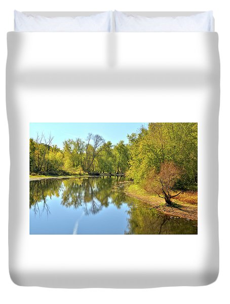 Golden Trees On Concord River Duvet Cover