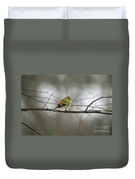 Goldfinch In Winter Looking At You Duvet Cover