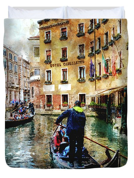 Gondola Traffic Near Piazza San Marco In Venice, Italy - Watercolor Effect Duvet Cover