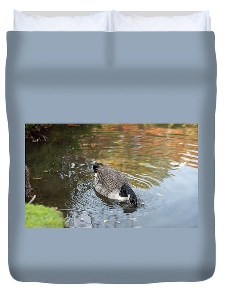 Duvet Cover featuring the photograph Goose Head In Water by Scott Lyons