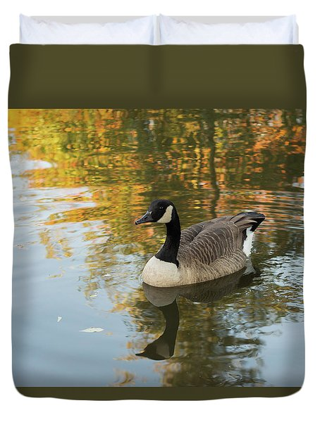 Duvet Cover featuring the photograph Goose Reflecting In Water by Scott Lyons
