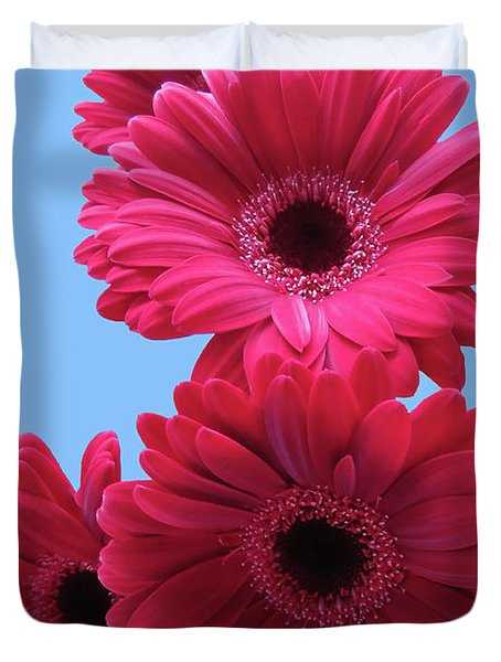 Gorgeous Red Gerberas In The Sky Duvet Cover