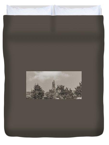 Graceful Evening Bald Head Island Lighthouse Duvet Cover